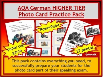 AQA German GCSE Speaking HIGHER  photo card pack
