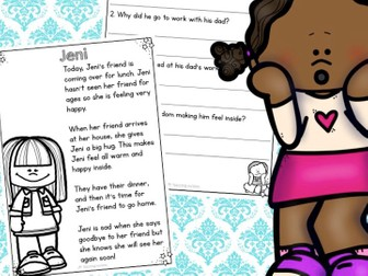 Feelings Reading Comprehension Passages and Questions