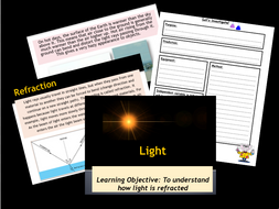 Science- Light- Refraction lesson Year 6