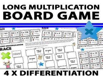 Long Multiplication Board Game Activity