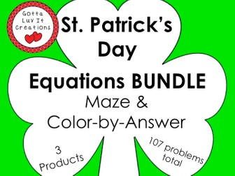 Solving Equations St Patricks Day Math Equations Maze  Color by