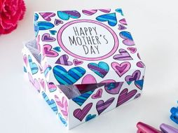 DIY Mother's Day Gift Box Template | Printable PDF template to color and make for Mother's Day