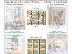 Have, Do Like & Favorites 4 Worksheet-2 Game-1 Exam Bundle