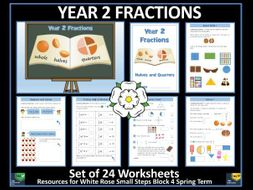 Fractions - Halves and Quarters - Year 2 - Spring Term - 24 Worksheets - White Rose Maths Style