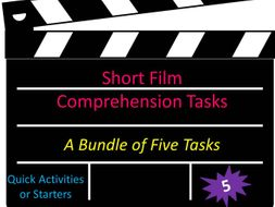 Short Film Comprehension Tasks Bundle Quick Activities or Starters Highly Engaging SEMH
