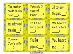 Tag Question Cards 4 Pages = 36 Cards