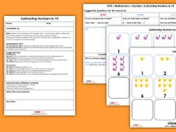 EYFS Maths Number - Subtracting Numbers to 10 Planning, Resources and Observation Pack