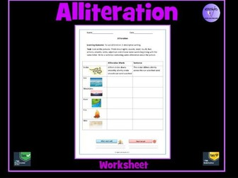 Alliteration Worksheet by Krazikas  Teaching Resources  Tes
