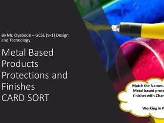 Metal Based Products Protections and Finishes CARD SORT