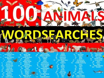 100 x Animals Wordsearch Sheet Starter Activity Keywords Cover Homework Nature Pets
