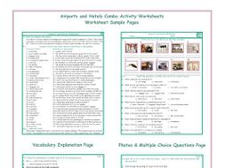 Airports and Hotels Combo Activity Worksheets