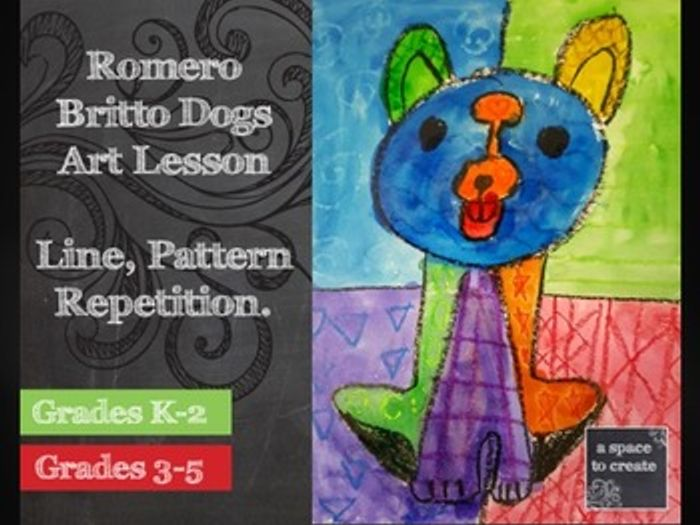 Line Art Lessons For Elementary : Romero britto dogs art history lesson pattern by