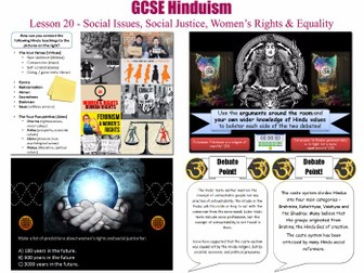 GCSE Hinduism - L20/20 [ Equality, Social Justice, Women's Rights, Feminism, Social Issues, Caste ]