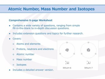 Atomic Number, Mass Number and Isotopes [Worksheet]