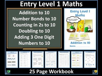 Entry Level 1 Maths: Addition to 10 - Workbook