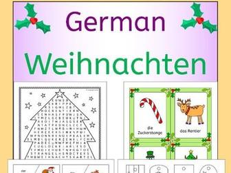 German Weihnachten - Christmas vocabulary activities, puzzles, games, cards