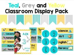 Teal, Grey and Yellow Classroom Display Pack