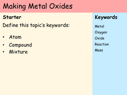 KS3 Atoms - Lesson 7 - Making Metal Oxides