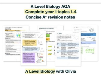 FREE LIMITED TIME ONLY concise A* AS Biology revision notes (AQA)