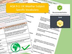 AQA 9-1 GCSE Geography - UK Weather Hazards, Key Vocabulary Literacy Activity Sheets
