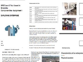 Level 2 Tech Award in Enterprise Component 1 Assignment 1 Exploring Enterprise  Workbook & Powepoint