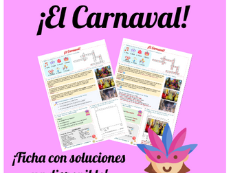 El carnaval worksheet. Customs and festivals. Identity and culture. Answers provided