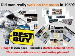 Moon landings - 9-page lesson pack (starter PPT, notes, 26 piece evidence sort, plenary PPT)