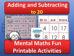 Addition Subtraction within 20 Activities