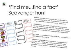 'Find me...find a fact' Scavenger hunt. Play, learning, science and nature, key stage, outdoor
