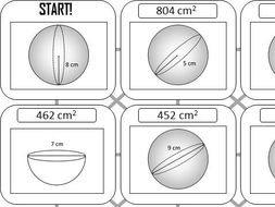 Surface Area of a Sphere - Answer Maze