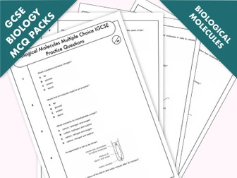 GCSE Biology: Multiple-Choice Topic Question Pack On Biological Molecules