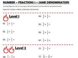 Number - Fractions 1 - Adding and Subtracting Fractions (Same Denominator)
