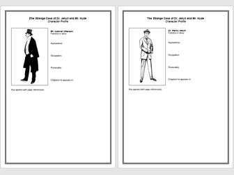 Dr Jekyll and Mr Hyde Charater Profiles