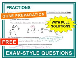 GCSE 9-1 Exam Question Practice (Fractions)