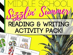 Middle School Summer Reading, Writing & Character Analysis Activity Pack