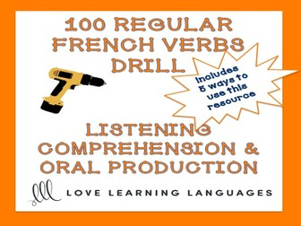 GCSE FRENCH: 100 French regular verbs present tense drill listening and conjugation practice