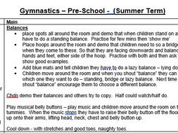 EYFS Pre-School PE planning - Gymnastics