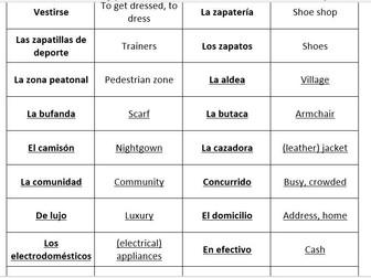 AQA GCSE Spanish vocabulary – Home Town, neighbourhood & region – match up cards