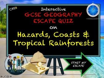 GCSE Geography Revision Escape Quiz Hazards Coasts Rainforests