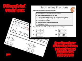 Subtracting Fractions Worksheets