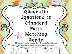 Equations in Standard Form Matching Cards