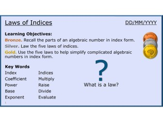 Algebra 08/31 Laws of Indices