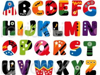 Superhero Alphabet Clip Art Graphics
