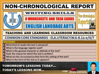 NON-CHRONOLOGICAL REPORT WRITING - 8 WORKSHEETS TASK CARDS