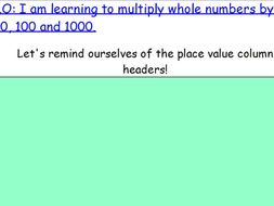 KS2 Year 5 Multiplying and dividing by 10, 100 and 1000 lessons