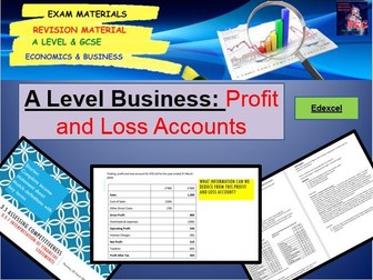 Profit and Loss Accounts Lesson and Activities including Starter: A Level Business