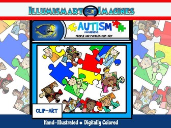 "Autism Awareness ""People and Puzzles"" Clip-Art (30 Pieces)"