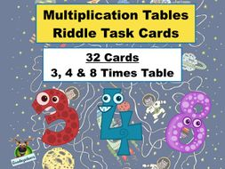 Maths Riddles Task Cards - Multipication Tables   (3,4 & 8)