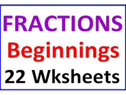 Fractions Beginnings BUNDLE (22 Worksheets)