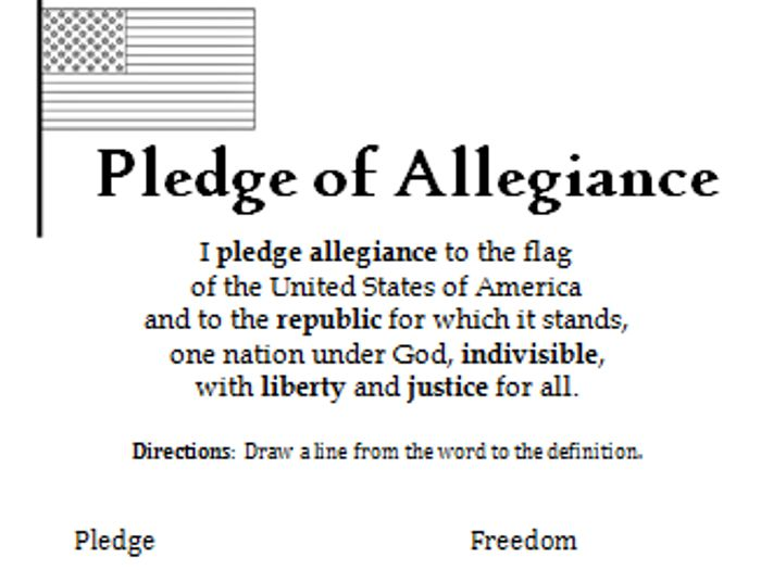 photo about Pledge of Allegiance Words Printable named Vocabulary - Pledge of Allegiance - Printable Handout as a result of